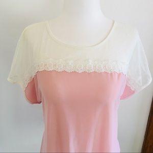 Faith and Joy Mixed Media Pink Top PXL Shirt Lace